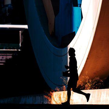 Straßenfoto-Silhouette Los Angeles von Rutger van Loo