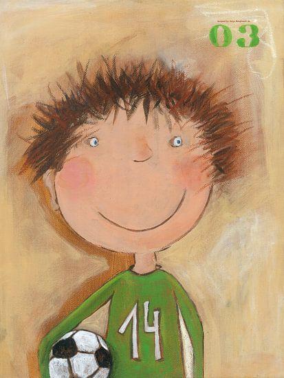 Voetbal Jonge - Schilderij voor Kinderen van Atelier BuntePunkt
