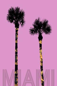 Grafische kunst PALMEN MIAMI | roze van Melanie Viola