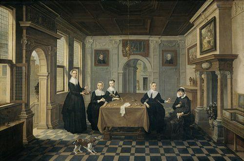 Interieur met vijf dames, Dirck van Delen van
