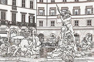 Neptunusfontein in Rome, Italië van Gunter Kirsch