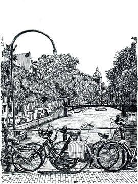 Tekening Amsterdam Binnenstad Nederland Pentekening Lijntekening van Hendrik-Jan Kornelis