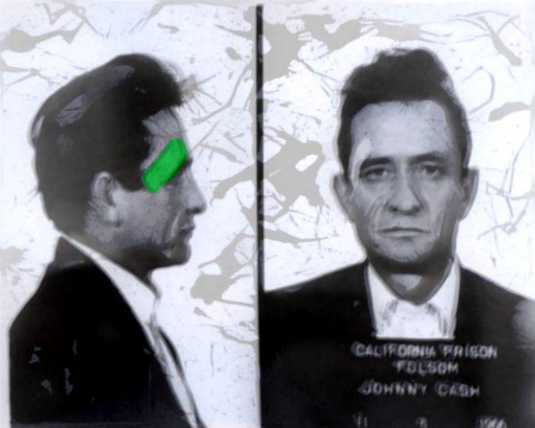 Motiv Porträt Johnny Cash - Blurred Game - Mugshot van Felix von Altersheim