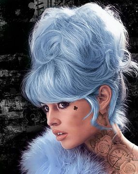 Brigitte Bardot Blau von Rene Ladenius Digital Art