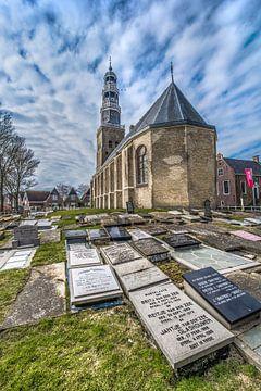 Kerk en kerkhof van het Friese plaatsje Hindeloopen sur