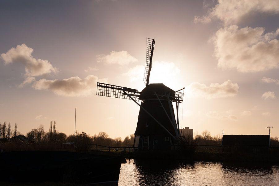 A Siluet of a windmill