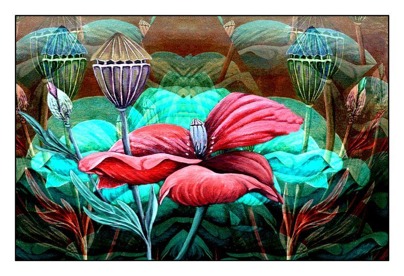 Florale Spielerei A  (Mohn) van Gertrud Scheffler