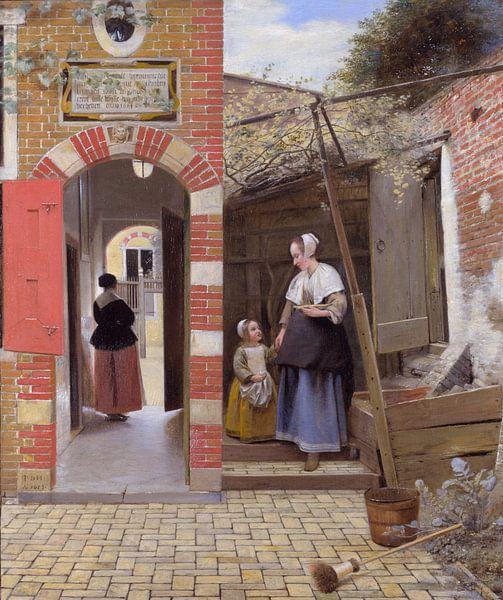 Innenhof eines Hauses in Delft, Pieter de Hooch von Meesterlijcke Meesters