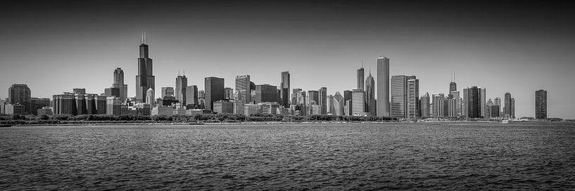 CHICAGO Skyline Panoramic bw van Melanie Viola