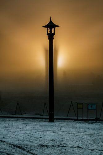 Alarmbel bij zonsondergang in kopermijn Falun van