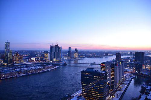 Rotterdam Skyline under a soft blue sky