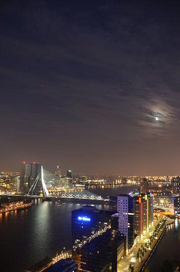 Beautiful Moon over Rotterdam