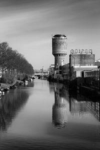 Watertoren aan het Heuveloord in Utrecht (kleur,  zwartwit)