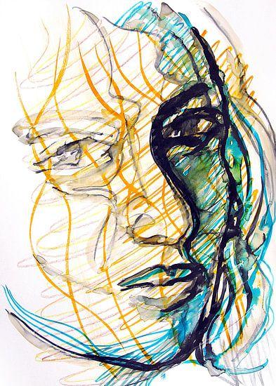 Portret in inkt van Eva van den Hamsvoort