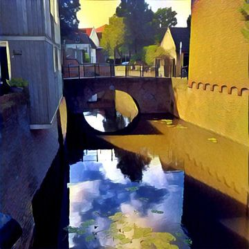 Backstreet with bridge, Den Bosch, The Netherlands van L.J. Lammers