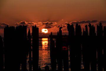 Zonsondergang bij Paesens Moddergat van