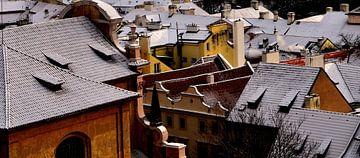 Huizen in Praag, Tsjechië van Willem van den Berge