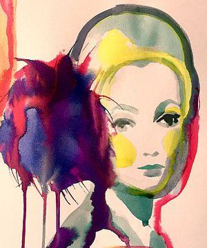 Purple Pom Pom van Helia Tayebi Art