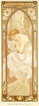 Tijden van de Dag: Nacht Rust - Art Nouveau Schilderij Mucha Jugendstil
