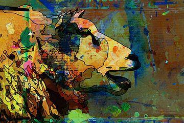 Strichzeichnung eines Schafes mit Farbe auf Karton als Hintergrund von Maureen Kroep