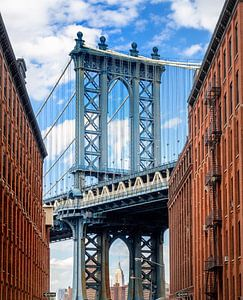 Manhattan Bridge gezien vanaf Brooklyn Backstreet
