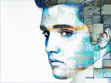 Elvis Presley Modern Abstract Portret in Blauw, Oranje, Grijs van Art By Dominic