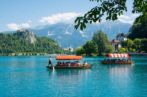 Boten op het meer Bled in Slovenie