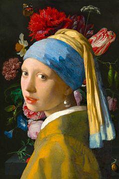 Das Mädchen mit dem Perlenohrring und Stillleben mit Blumen in einer Glasvase von Eigenwijze Fotografie