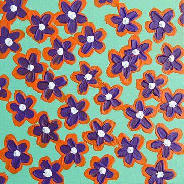 Blumen retroviolett orange mintgrün von Bianca ter Riet