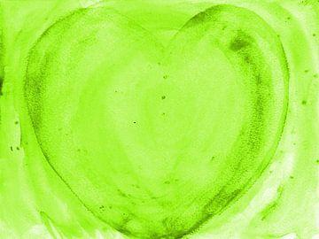 Herz grün van Katrin Behr