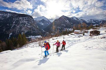 Schneeschuhwandern in Finhaut, Wallis von