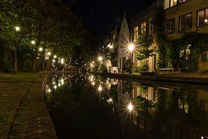 Étoiles de la ville et reflets - Oudegracht, Utrecht, Pays-Bas
