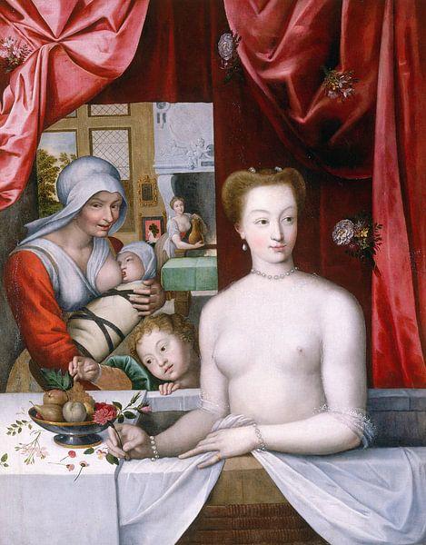 Französische Schule. Gabrielle d'Estrées im Bad von 1000 Schilderijen