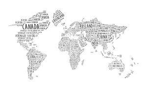 Wereldkaart Typografie met alle landnamen
