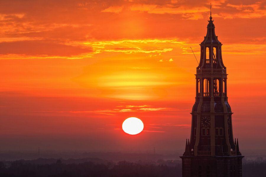 Der Aa-kerk tijdens Zonsondergang