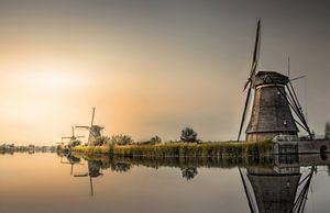 Zonsondergang windmolens Kinderdijk