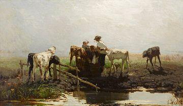 Kälber an einem Trog, Willem Maris