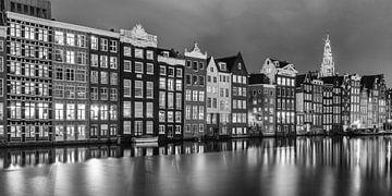 Het Rokin in de avond in zwart wit von Menno Schaefer