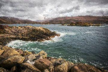 Meerwasser kollidiert mit Felsen in Schottland von Digitale Schilderijen