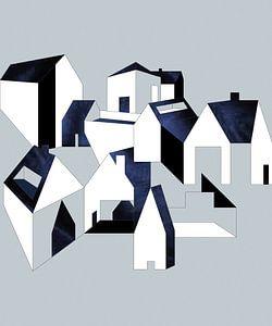 Minimalistisch, abstract dorp met blauwe velvet en witte huizen.