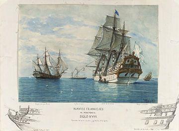 Rafael Monleón~ Französische Schiffe aus dem frühen 18.