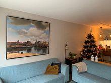 Klantfoto: Gezicht op Delft van Vermeer, op canvas