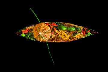 Boot vol geurende kruiden, spices boat van Corrine Ponsen