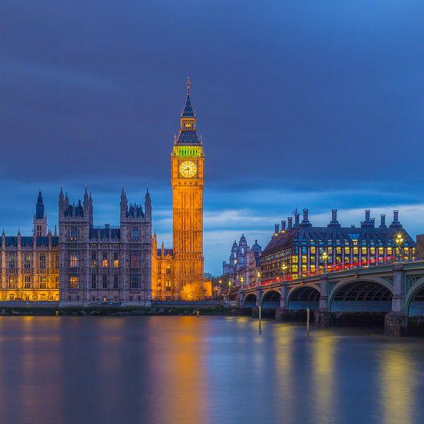 Londen in de avond - Big Ben en Palace of Westminster - 5 van Tux Photography