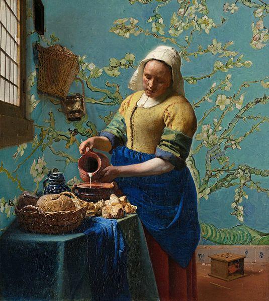 Het melkmeisje met Amandelbloesem behang - Vincent van Gogh - Johannes Vermeer van Lia Morcus