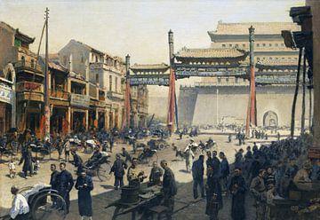 Het drukke straatbeeld van Beijing voor de Qianmen-poort, ERICH KIPS, Ca. 1900-1920 van Atelier Liesjes