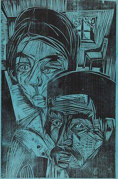 Bauernpaar in der Hütte (Andres und Annamargret Müller), ERNST LUDWIG KIRCHNER, 1919 von Atelier Liesjes