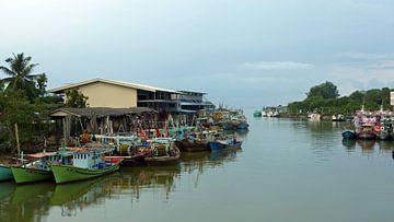 Kleurige bootjes in de haven in Mersing Maleisie van Gonnie van Hove