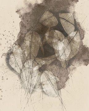Sepia-Skizze mit losen Blättern von Joost Hogervorst