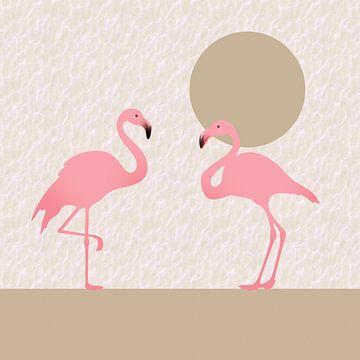 Twee roze flamingo's van Lida Bruinen